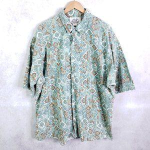 Vtg Body Objects 2XLT Tall Abstract Hawaiian Shirt
